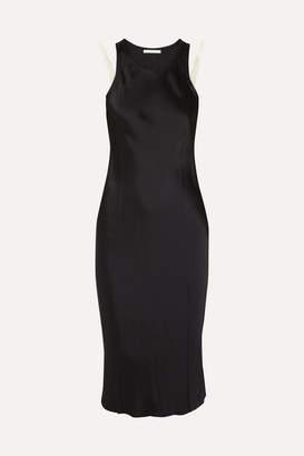 Helmut Lang Silk-trimmed Washed-satin Midi Dress - Black