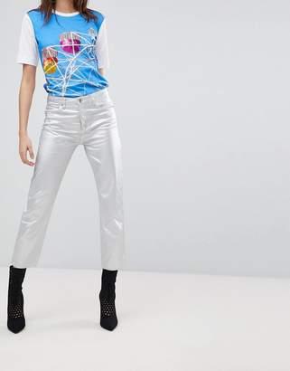 Love Moschino Silver Metallic Boyfriend Jeans