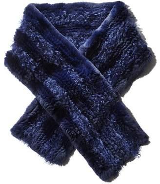 Maximilian Furs Knit Rabbit Fur Scarf with Kalgan Lamb Shearling Insets -100% Exclusive