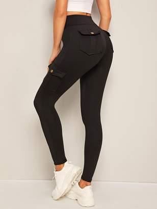 Shein Flap Pockets Skinny Cargo Leggings