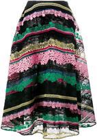 Valentino 中长条纹半身裙