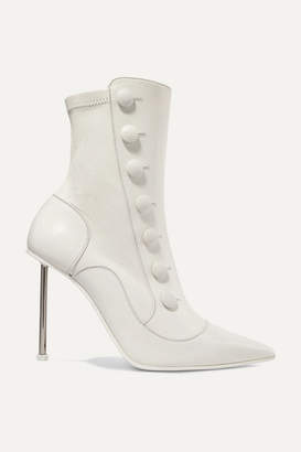 Alexander McQueen Embellished Leather Ankle Boots - Ivory