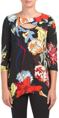 Floral Printed Peek-a-boo Tunic