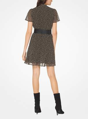 MICHAEL Michael Kors Leopard Chiffon Tie-Neck Dress