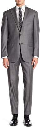 Hart Schaffner Marx Gray Woven Notch Lapel Wool New York Fit Suit