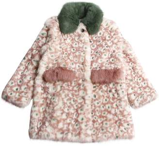 Yves Salomon Enfant Leo Intarsia Rabbit Fur Coat