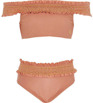 River Island Girls pink shirred bardot bikini