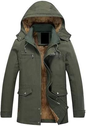 567d2ea1a2f CBTLVSN Men s Casual Winter Fleece Lined Hooded Zipper Parka Trench Coat  Jacket XXXL