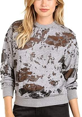 KENDALL + KYLIE Women's Deconstructed Terry Sweatshirt