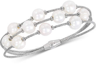 Honora Cultured Freshwater Pearl (8-9mm) Bangle Bracelet in Sterling Silver