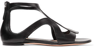 Alexander McQueen Cutout Leather Sandals - Black