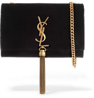 Saint Laurent Monogramme Kate Small Velvet Shoulder Bag - Black