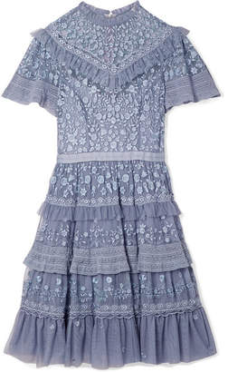 Needle & Thread Iris Tiered Lace-trimmed Embroidered Tulle Mini Dress - Lavender