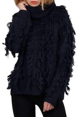 Molly Bracken Fringe Turtleneck Sweater