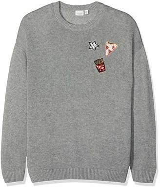 Name It Girl's Nkfnaja Ls Knit Jumper Grey Melange