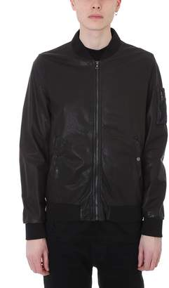 Drome Black Leather Bomber