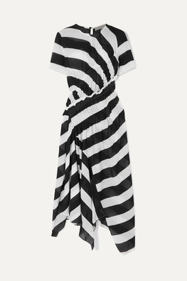 Preen Line Sida Asymmetric Ruched Striped Crepe De Chine Midi Dress - Black