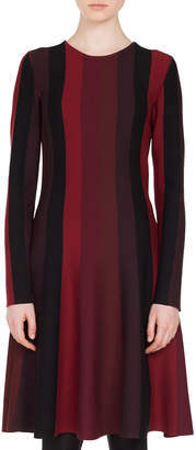 Akris Punto Long-Sleeve Crewneck A-Line Striped Knit Wool Dress