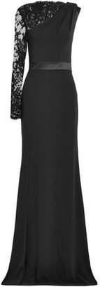 Alexander McQueen Split-front Lace-paneled Crepe Gown