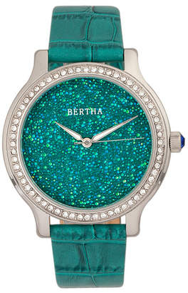 Bertha Quartz Cora Collection Teal Leather Watch 40Mm