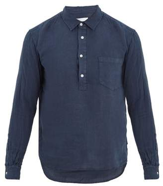 Solid & Striped - Popover Half Button Linen Shirt - Mens - Navy
