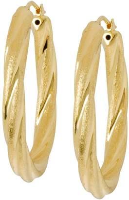 """Veronese 18K Clad 1-1/2"""" Oval Satin & PolishedHoop Earrings"""