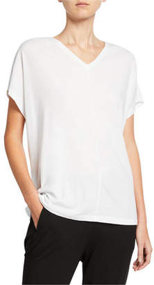 Eileen Fisher Oversize V-Neck Short-Sleeve Organic Cotton Jersey Tee