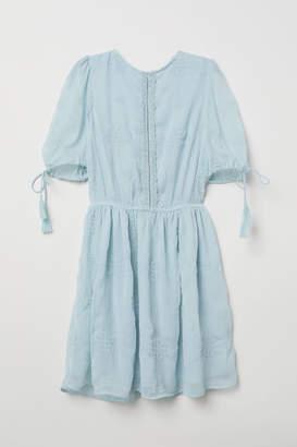H&M Embroidered Chiffon Dress - Turquoise