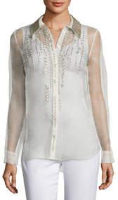 Martha Beaded Silk Chiffon Blouse w/ Leather Collar