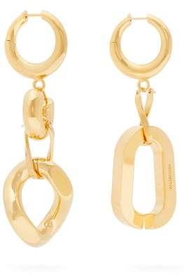 Balenciaga Mismatched Chain Link Drop Earrings - Womens - Gold