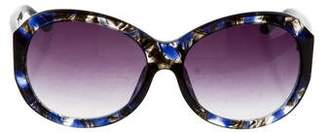 Matthew Williamson x Linda Farrow Oversize Marbled Sunglasses