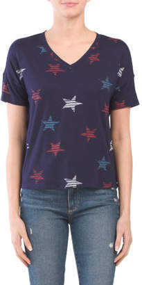 V Neck Printed T Shirt
