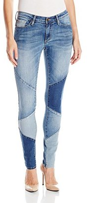 Buffalo David Bitton Women's Faith Skinny Mid Rise Patchwork Jean $89 thestylecure.com