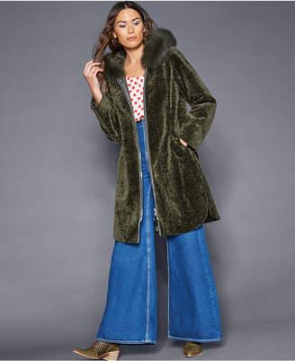 The Fur Vault Fox-Trim Lamb Fur Coat