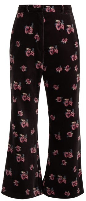 Racil Floral Print Velvet Flared Trousers - Womens - Black Multi