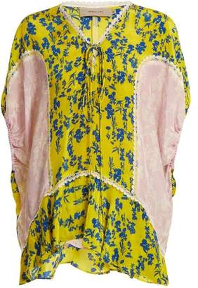 Preen Line Ivy Floral Print Lace Trimmed Blouse - Womens - Yellow Multi