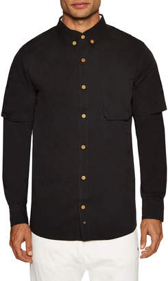 Thing Thing Solid Extended Sleeve Button-Down Sportshirt