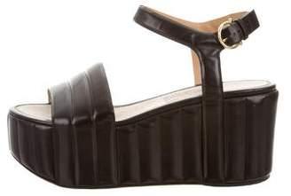 Salvatore Ferragamo Leather Flatform Sandals
