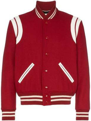 contrasting leather trim bomber jacket