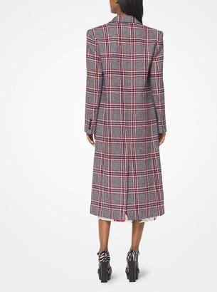 Michael Kors Plaid Wool Chesterfield Coat