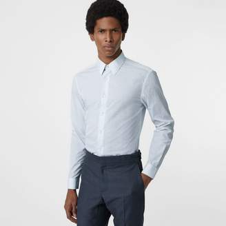 Burberry Slim Fit Check Cotton Poplin Shirt , Size: 15.5, Blue