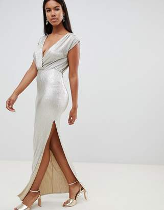 Rare London Metallic Wrap Maxi Dress