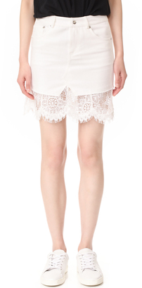 McQ - Alexander McQueen Short Hybrid Lace Skirt $480 thestylecure.com