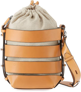 Rebecca Minkoff Leather Caged Canvas Bucket Bag