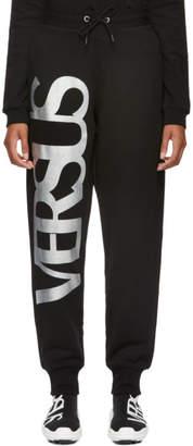 Versus Black Metallic Logo Lounge Pants