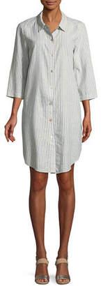 Eileen Fisher Striped Hemp-Blend Shirtdress, Petite
