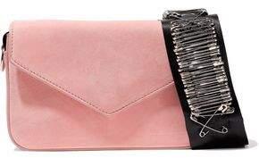 Edie Parker Melissa Embellished Grosgrain-Trimmed Suede Shoulder Bag