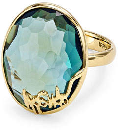 Ippolita 18k Gold Rock Candy Oval Stone Ring, Blue Topaz