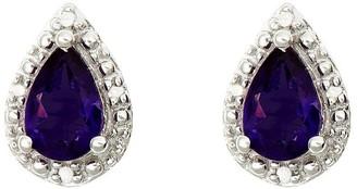 Sterling Pear-Shaped Gemstone Stud Earrings w/Diamond Accent