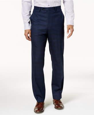 Alfani Men's Traveler Slim-Fit Stretch Navy Checkered Pants, Created for Macy's